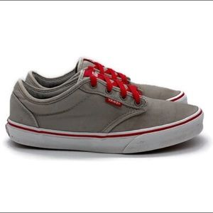 Vans Gray/Red Lace Up Sneakers Youth Size 6